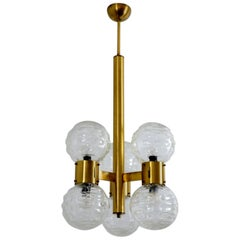 German Hollywood Regency Brass and Glass Sphere Chandelier, 1970s