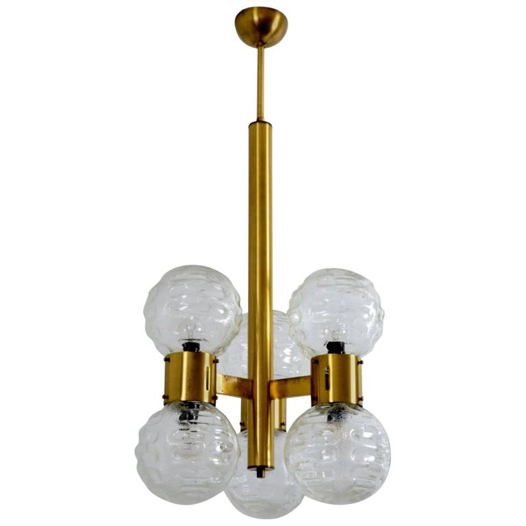 German Hollywood Regency Brass and Glass Sphere Chandelier, 1970s For Sale