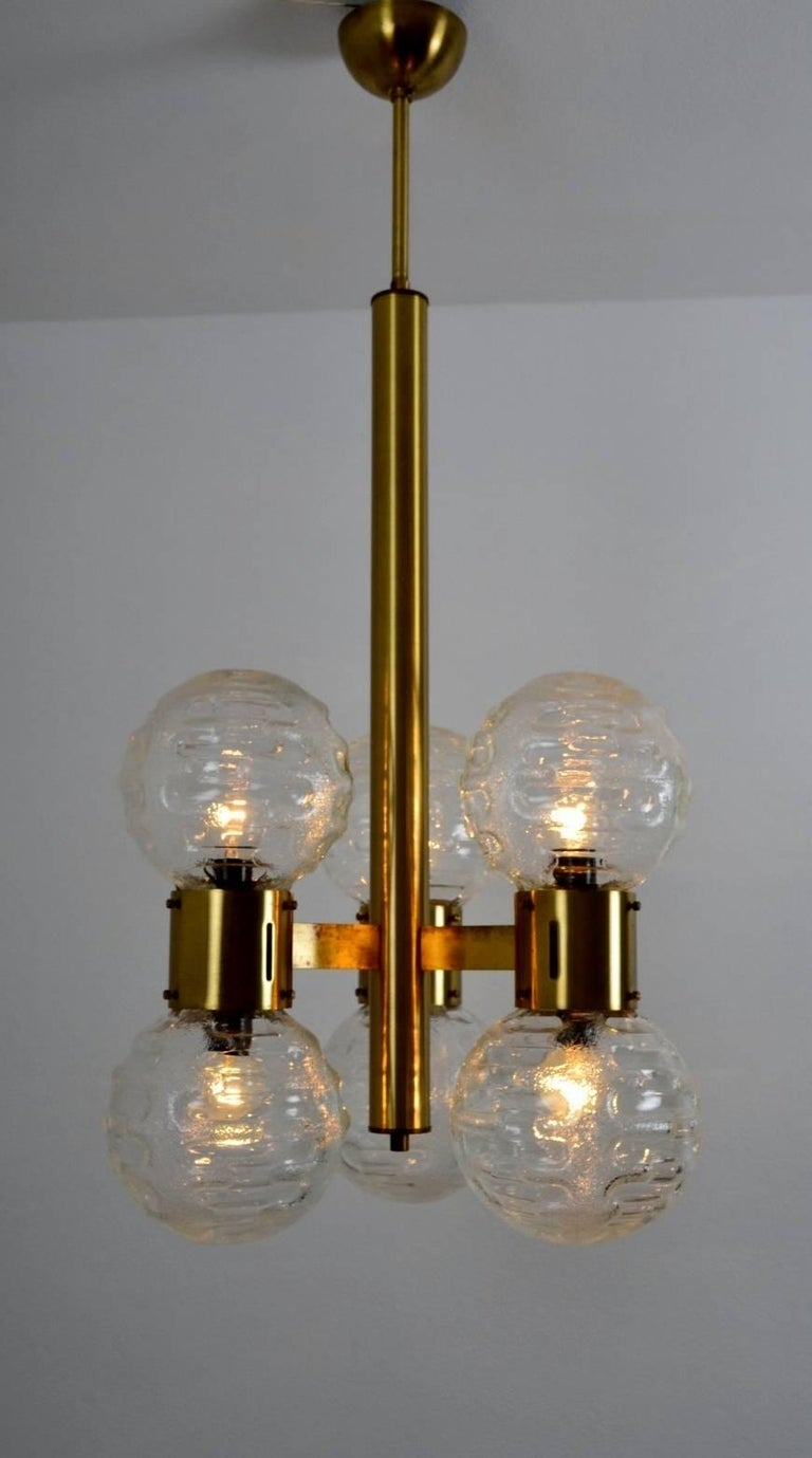 Late 20th Century German Hollywood Regency Brass and Glass Sphere Chandelier, 1970s For Sale