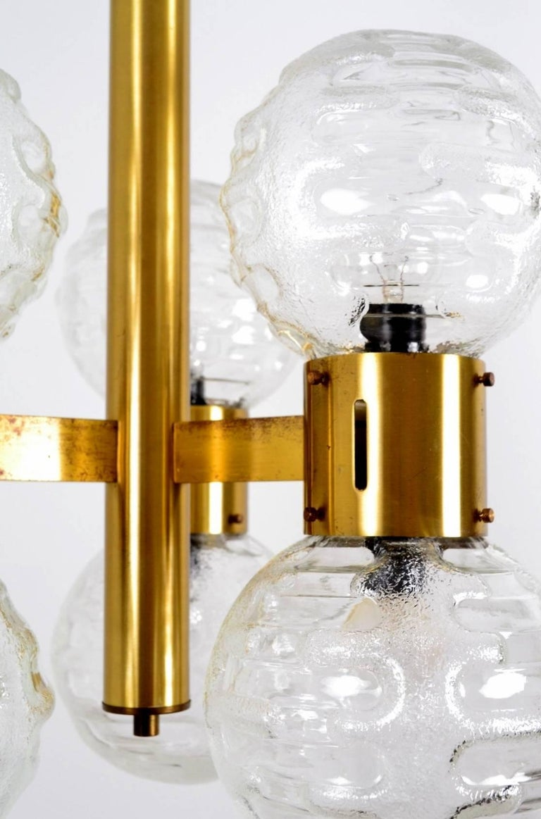 German Hollywood Regency Brass and Glass Sphere Chandelier, 1970s For Sale 2