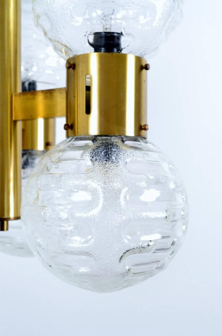 German Hollywood Regency Brass and Glass Sphere Chandelier, 1970s For Sale 3