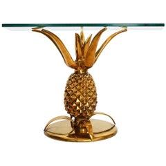French Regency Pineapple Side Table Made of Full Brass,  1970s