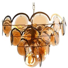 Italian Brass and Smoke Glass Chandelier by Vistosi, 1960s
