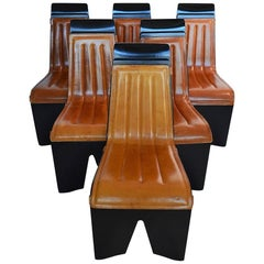 Willy Rizzo for Mario Sabot Dining Chairs with Leather Top, Set of Six, 1970s