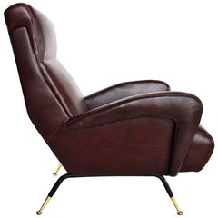 Italian Mid-Century Lounge Chair Reupholstered in Maroon Leather, 1950s