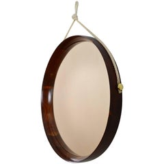 Midcentury Italian Walnut and Brass Round Mirror with Cord, 1960s