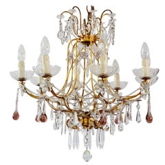 Italian Antique Gilt and Crystal Chandelier with Murano Drops Chains, 1950s