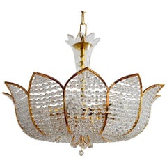 Hollywood Regency Gilt German Crystal Chandelier by Palwa, 1970s