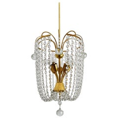 Austrian Midcentury Crystal Glass and Brass Chandelier, 1950s