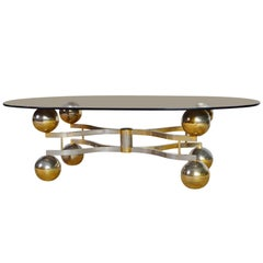 Midcentury Space Age Coffee Table with Brass Finish and Smoke Glass, 1970s