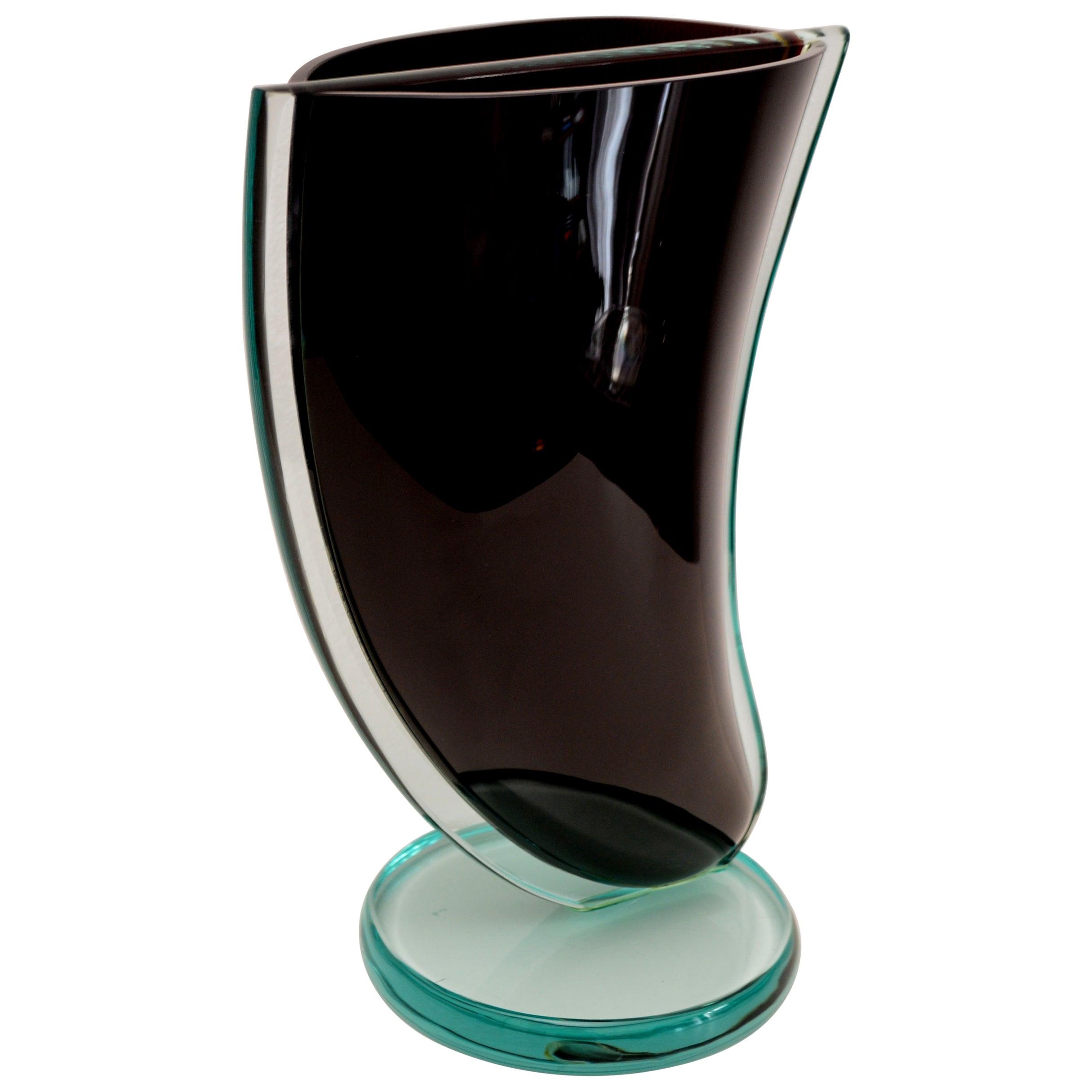Italian Midcentury Murano Art Glass Sculpture Collectors Vase, Signed, 1970s