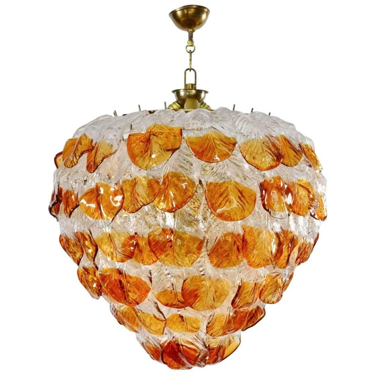 Italian Midcentury Murano Extra Large Chandelier with 99 Crystal Glass Leafs For Sale