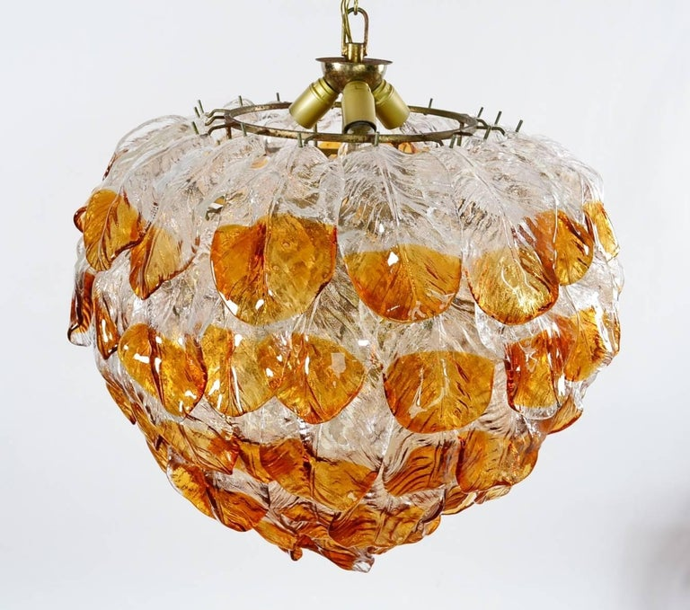 Hand-Crafted Italian Midcentury Murano Extra Large Chandelier with 99 Crystal Glass Leafs For Sale