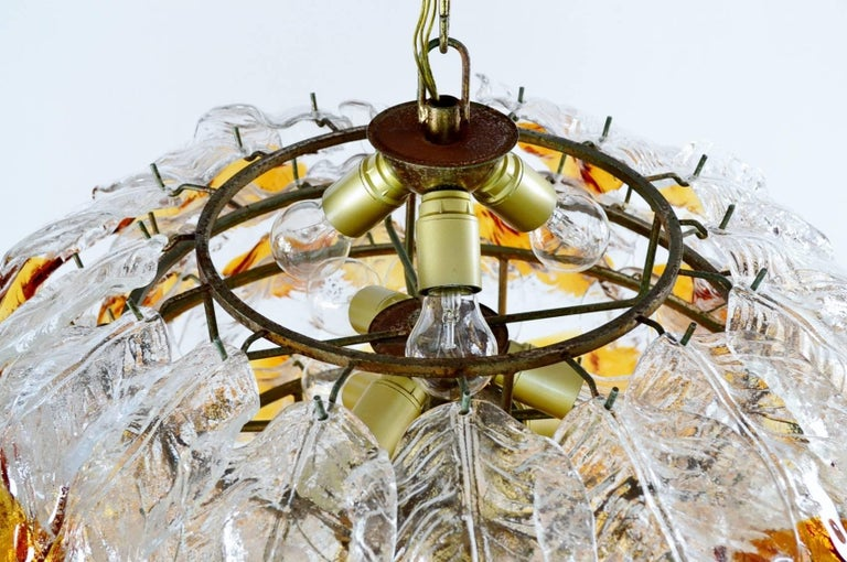 Mid-20th Century Italian Midcentury Murano Extra Large Chandelier with 99 Crystal Glass Leafs For Sale