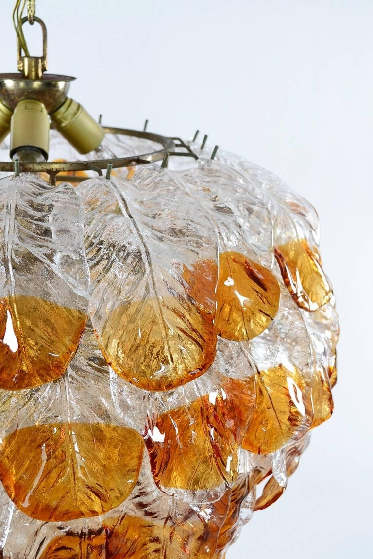 Murano Glass Italian Midcentury Murano Extra Large Chandelier with 99 Crystal Glass Leafs For Sale