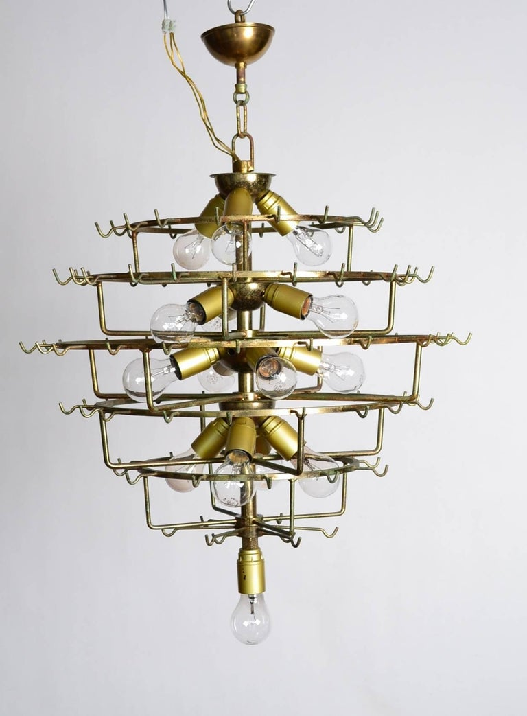 Italian Midcentury Murano Extra Large Chandelier with 99 Crystal Glass Leafs For Sale 1
