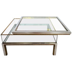 Regency Brass and Chrome Coffee Table with Sliding Display Case, France, 1970s