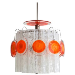 Italian Midcentury Pop Art Murano Art Glass Chandelier by Vistosi, 1970s