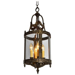 Italian Midcentury Bronze Lantern with Four Lights Flowers and Garlands, 1950s