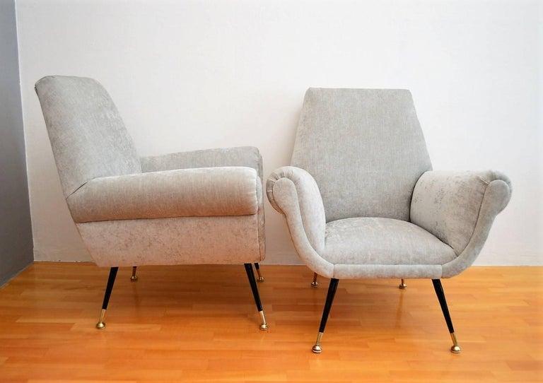 Mid-20th Century Italian Midcentury Armchairs in Silver Velvet by Gigi Radice for Minotti, 1950s For Sale