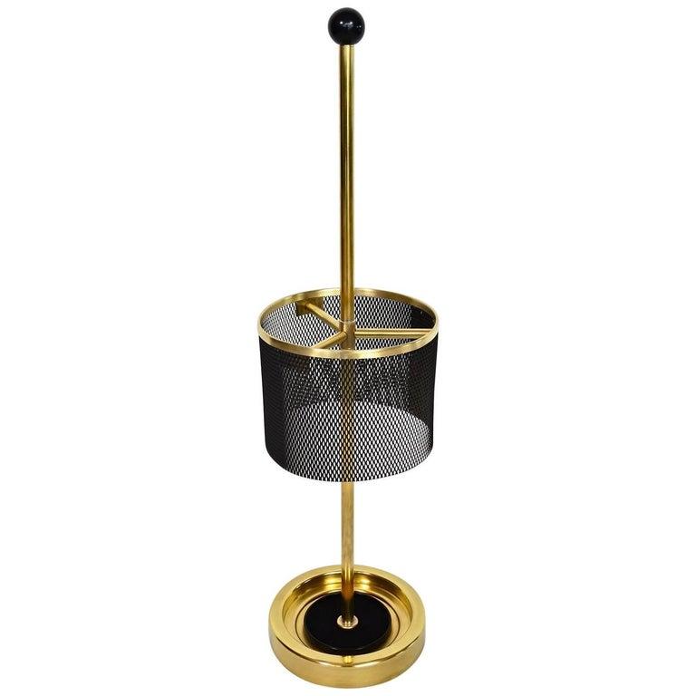 Italian Midcentury Brass Umbrella Stand, 1950s For Sale