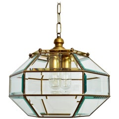Italian Glass and Brass Ceiling Pendant or Lantern, 1960s