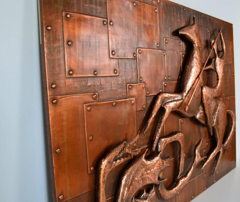 Copper Relief Wall Decoration Of Saint George And The