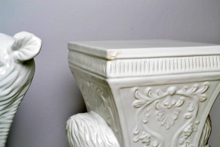 Decorative White Ceramic Camel Garden Stool Side Table