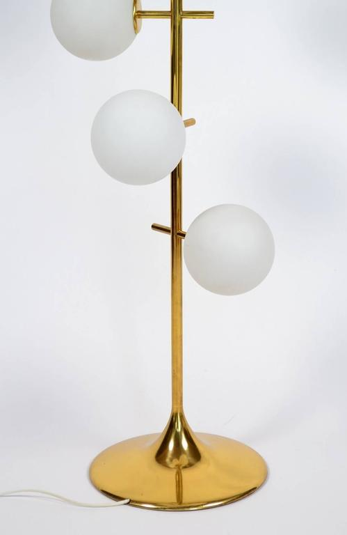 Brass And Swirling Opaline Glass Globes Floor Lamp By