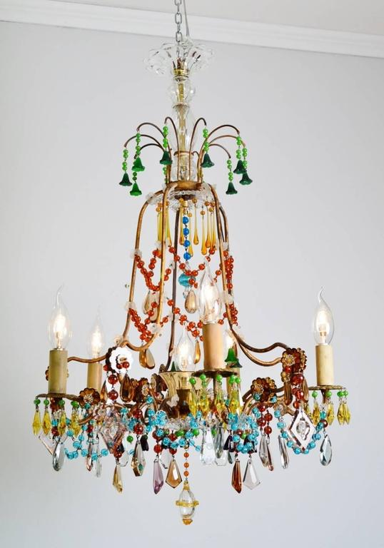French Multicolor Murano Glass Gilt Chandelier Bohemian Style – Bohemian Glass Chandelier