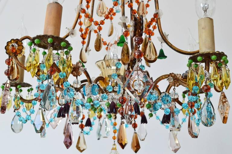 French multicolor murano glass gilt chandelier bohemian style french multicolor murano glass gilt chandelier bohemian style 1940s in excellent condition for mozeypictures Images