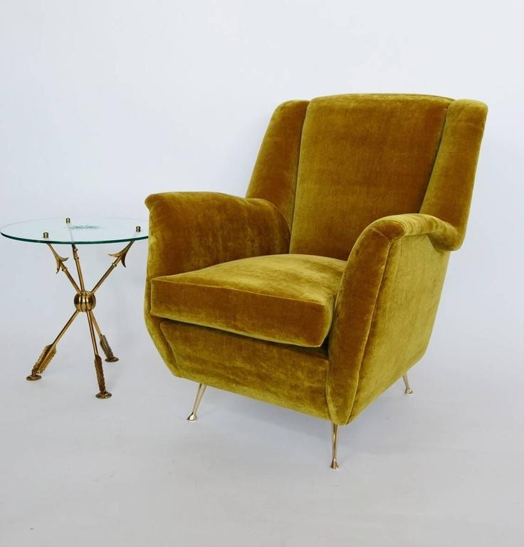 Beau Mid Century Modern Italian Armchair Or Lounge Chair By ISA Bergamo, 1950s,  Reupholstered