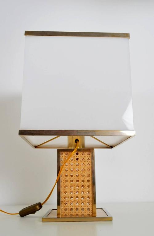 Mid-20th Century Italian Regency Brass, Lucite and Cane Table Lamp with Acrylic Lampshade, 1960s