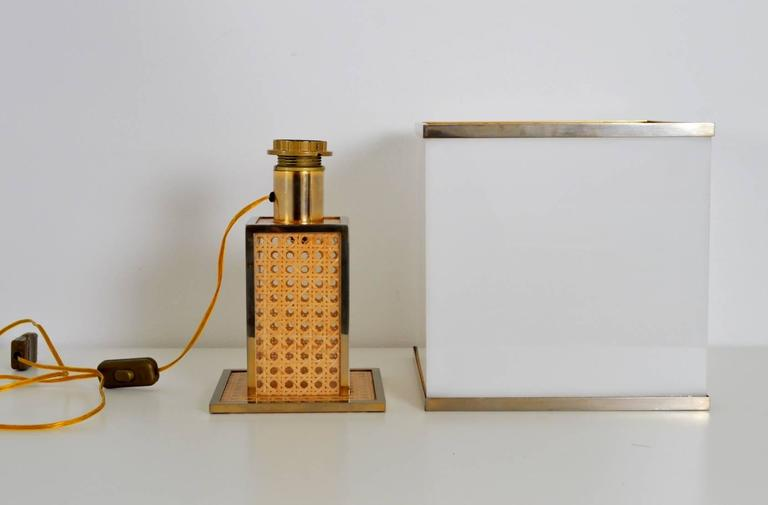 Italian Regency Brass, Lucite and Cane Table Lamp with Acrylic Lampshade, 1960s 5