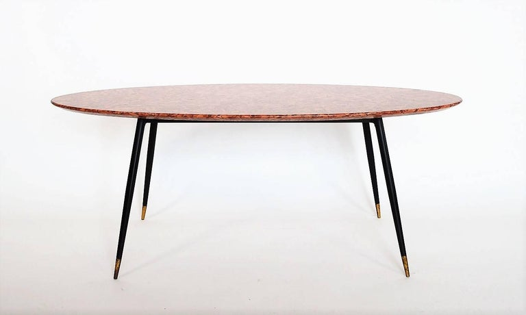 Mid-Century Italian Red Marble Coffee or Side Table, 1950s 4