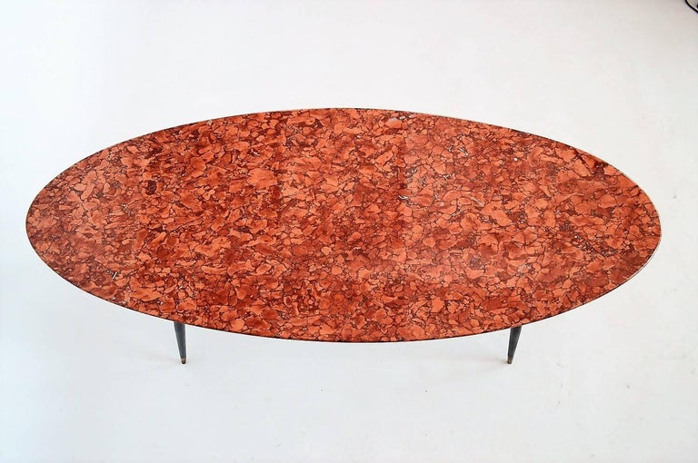 Mid-Century Italian Red Marble Coffee or Side Table, 1950s For Sale 1