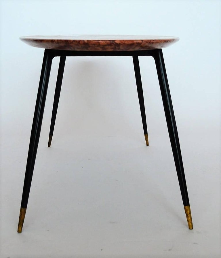 Mid-20th Century Mid-Century Italian Red Marble Coffee or Side Table, 1950s For Sale