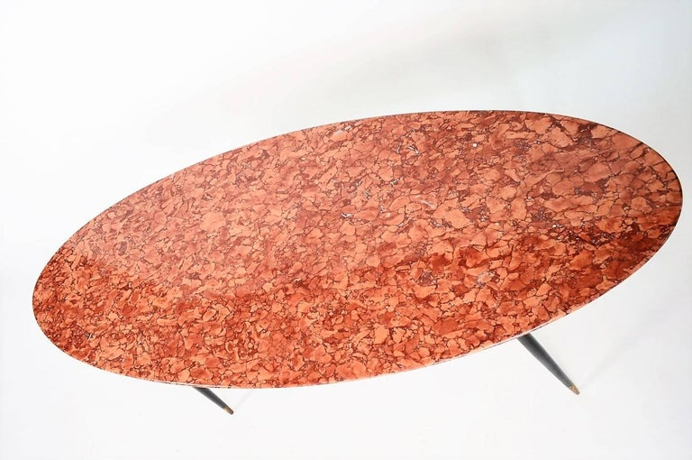 Mid-Century Italian Red Marble Coffee or Side Table, 1950s For Sale 3
