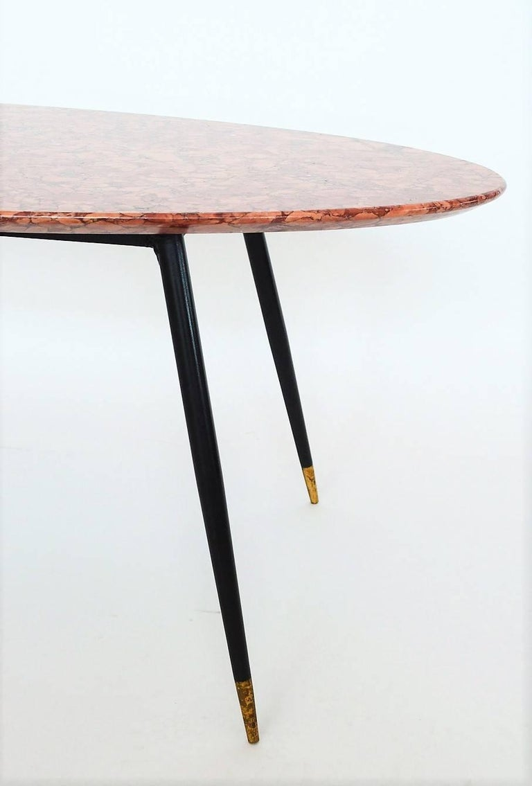 Mid-Century Italian Red Marble Coffee or Side Table, 1950s For Sale 2