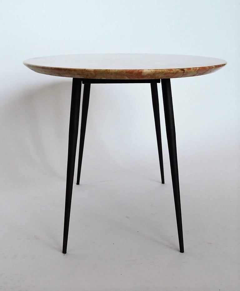 Verona Marble Coffee Table: Mid-Century Italian Red Marble Coffee Or Side Table, 1950s