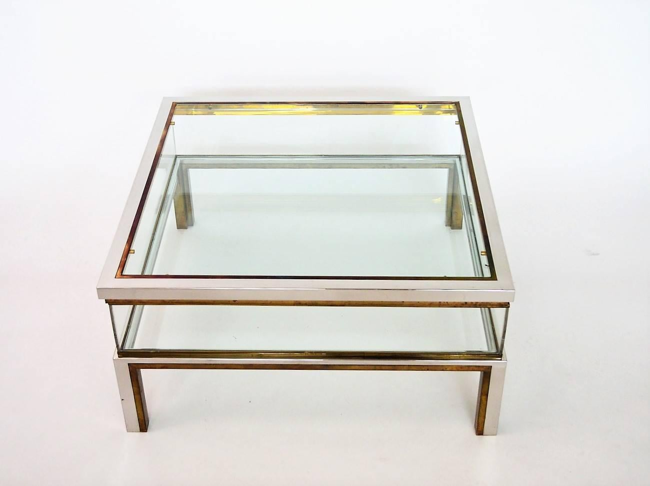 Very Elegant 1970s Regency Brass And Chrome Coffee Table With Internal  Sliding Display Case In Order