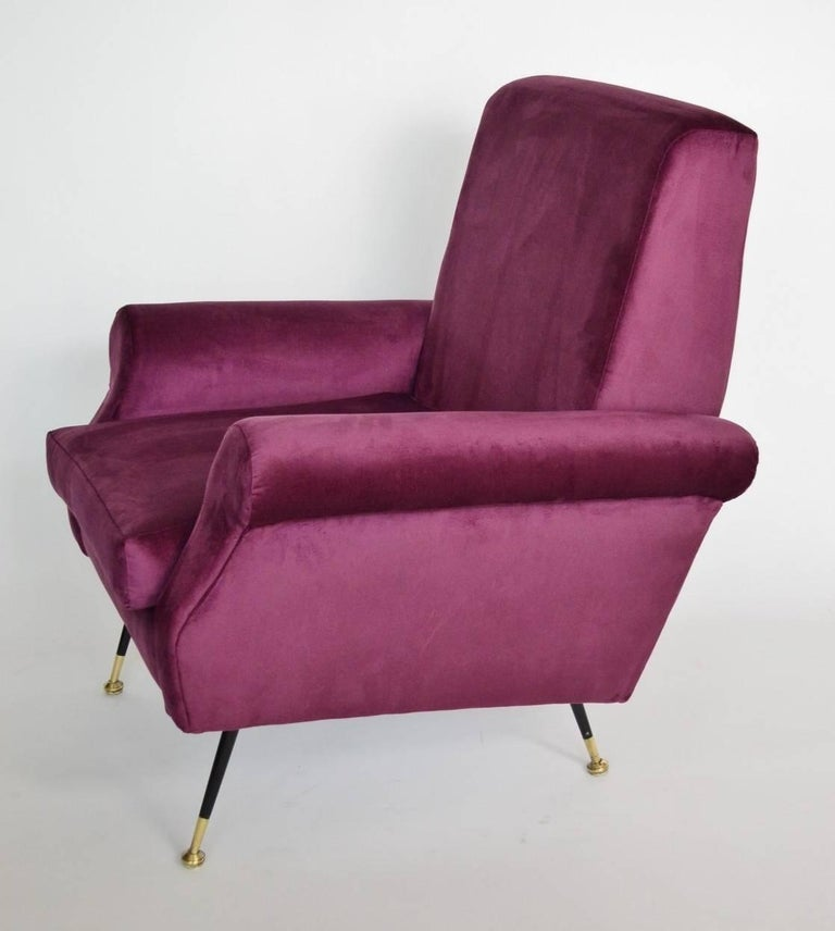 1950s Lounge Armchairs Re Upholstered In Multicolored: Italian Velvet And Brass Lounge Chairs, Re-Upholstered In