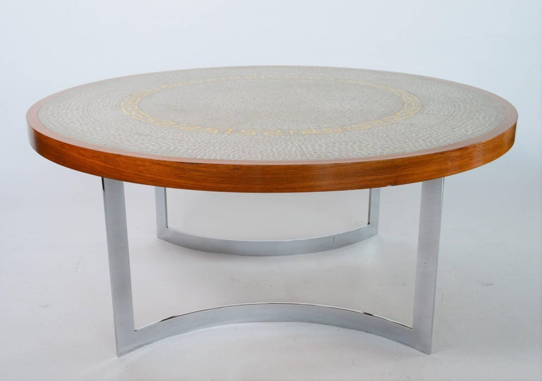 German Round Tile Mosaic and Wood Coffee Table by Berthold Muller ...
