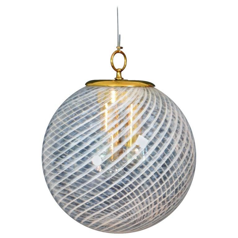 Murano Italian Swirled Glass Globe Pendant Light by Venini, 1960s