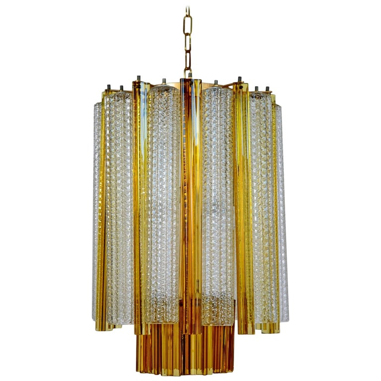 Murano Amber Modernist Chandelier by Venini, 1960