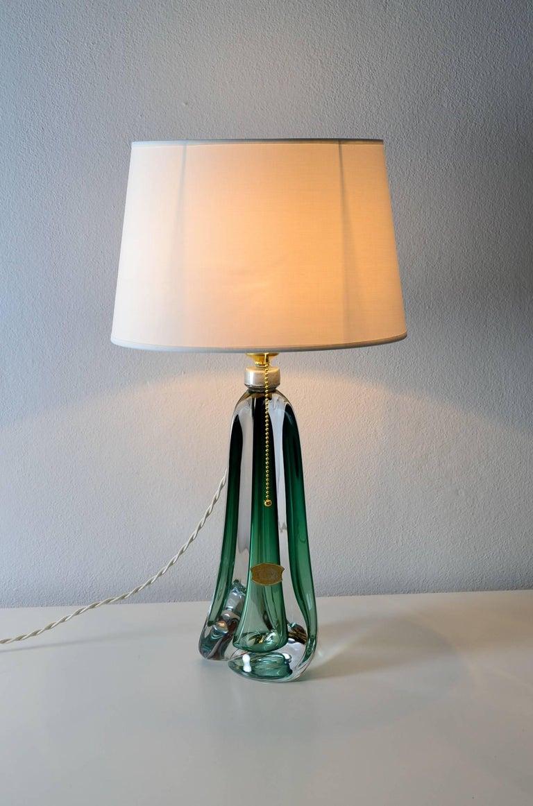 Belgian Emerald Green Glass Table Lamp Of Val St Lambert 1950s At