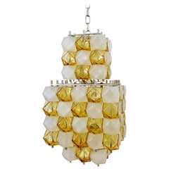 Modernist Italian Glass Cube Art Chandelier from Interlux, 1950s