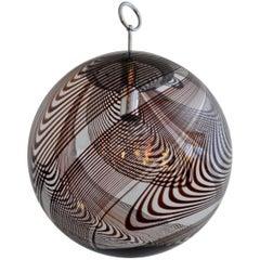 Italian Murano Swirled Glass and Chrome Globe Pendant Lamp, 1960