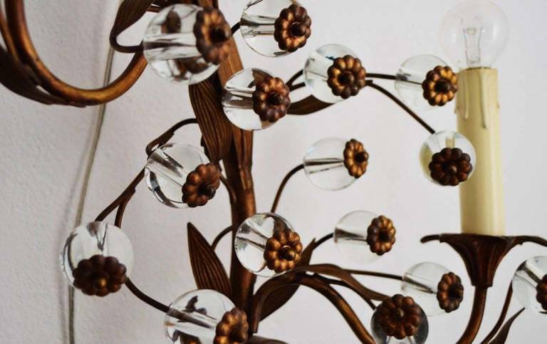 Italian Murano Decorative Flower Brass and Glass Wall Sconce, 1960s ...