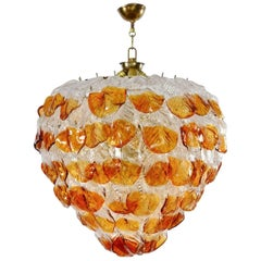 Italian Murano Chandelier with 99 Amber and Transparent Leafs, 1960s